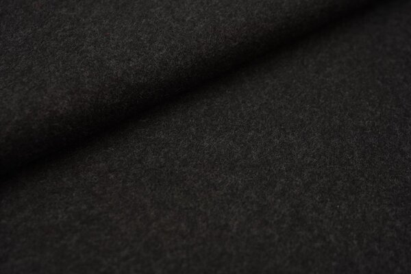 Baumwoll-Fleece uni dunkelgrau anthrazit meliert