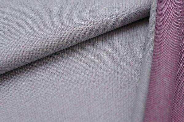 Jacquard-Sweat Ben hellgrau Uni mit dunkelgrauer und amarant pinker Rückseite