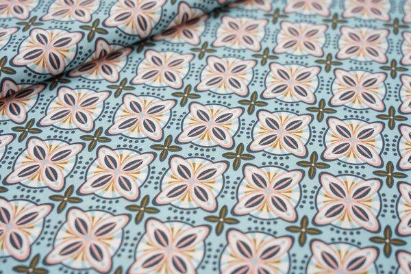 Baumwollstoff Retro Blumen-Muster Kacheln auf eisblau