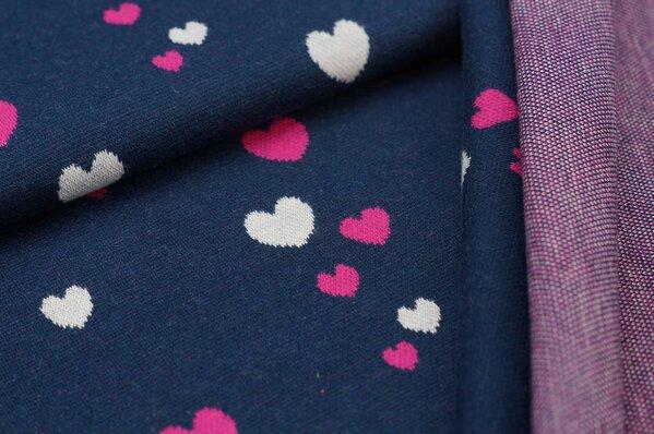 Jacquard-Sweat Ben amarant pink / off white Herzchen auf navy blau