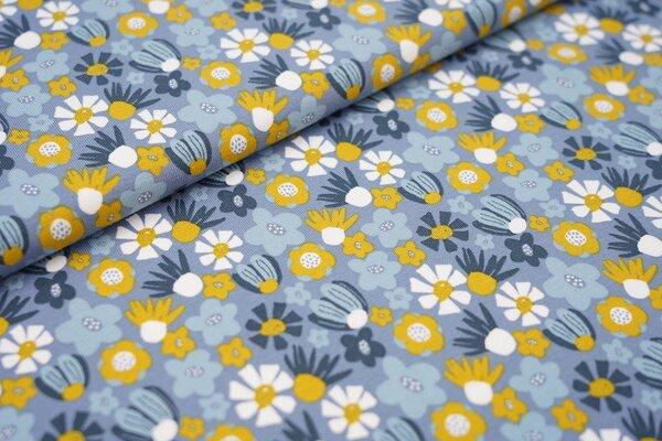Baumwoll-Jersey Blumen Blüten in senf blau dunkelblau und weiß auf jeansblau