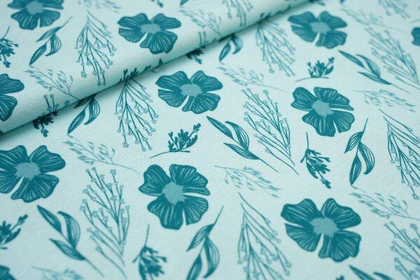 Baumwoll-Jersey mit Blumen und Blätter mint / petrol
