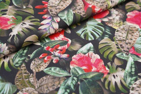 Dekostoff Canvas Digitaldruck Pflanzen Blätter Blumen schwarz / grün / rot