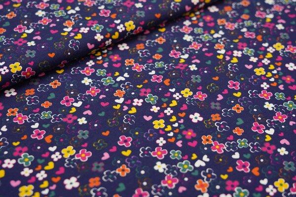 Baumwoll-Jersey kleine Blüten und Herzen Blumen auf dunkelblau