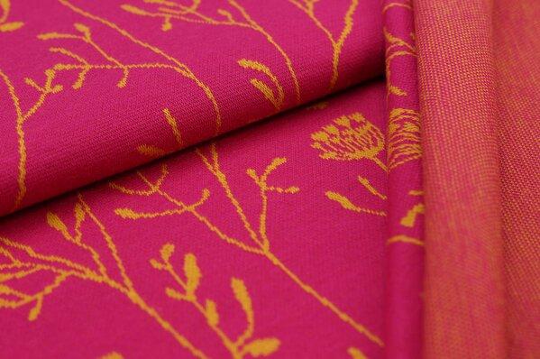 Jacquard-Sweat Ben lange senf Blumen auf amarant pink