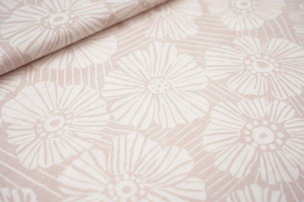 Sommer T-Shirt-Stoff / leichter Jersey große Blumen Blüten Striche pastell rosa