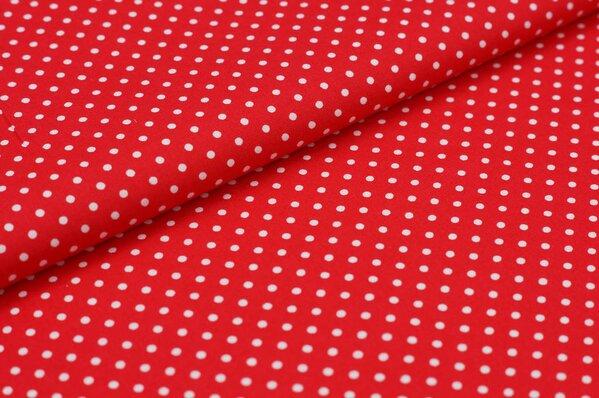 Baumwollstoff Baumwolle kleine Punkte rot / weiß