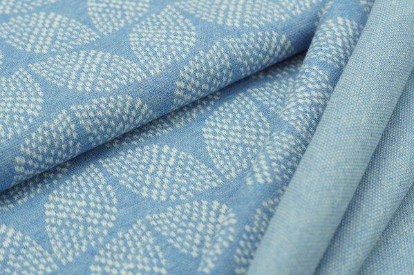 Jacquard-Sweat Mia off white Blätter Muster auf pastell jeansblau Melange