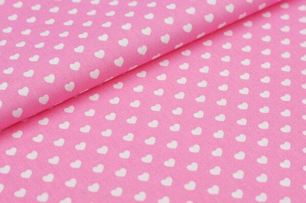 Baumwollstoff Baumwolle Herzen rosa / weiß