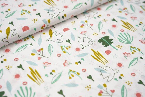 Baumwollstoff Blumen Blätter Vögel weiß / koralle / eisblau / grün / oliv Vogel