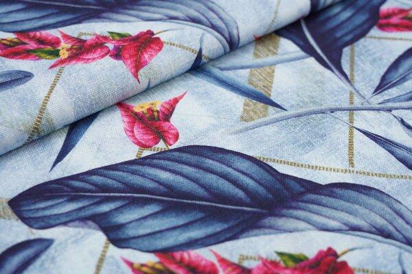 Dekostoff Canvas Digitaldruck Palmenblätter Blumen Pflanzen auf hellblau