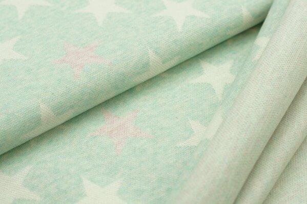 Jacquard-Sweat Mia off white und pastell rosa Sterne auf pastell mint Melange