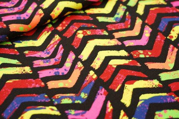 Baumwoll-Jersey neon Pfeile mit Farbspritzern schwarz / bunt