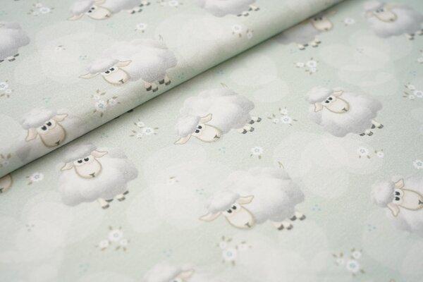 Digitaldruck Baumwoll-Jersey Schafe Herzen und kleine Blumen auf hellgrün