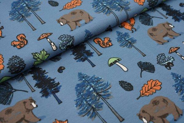 Baumwoll-Jersey Tiere im Wald jeansblau Bär Fuchs Eichhörnchen Bäume Blätter Pilze
