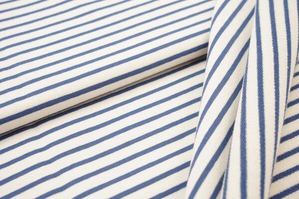 Traumbeere XXL Baumwoll-Sweat Marie Streifen Ringel schmal taupeblau und off white