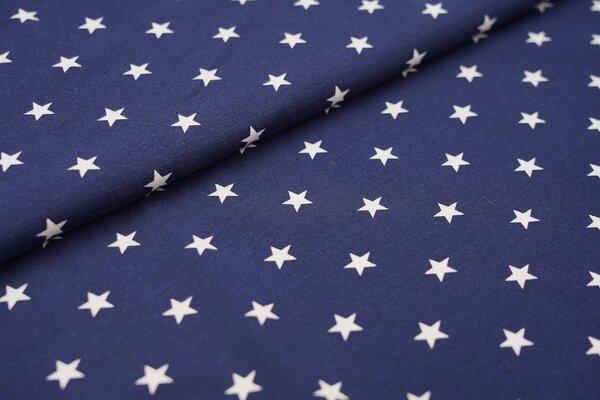Baumwoll-Jersey weisse Sterne auf navy dunkelblau
