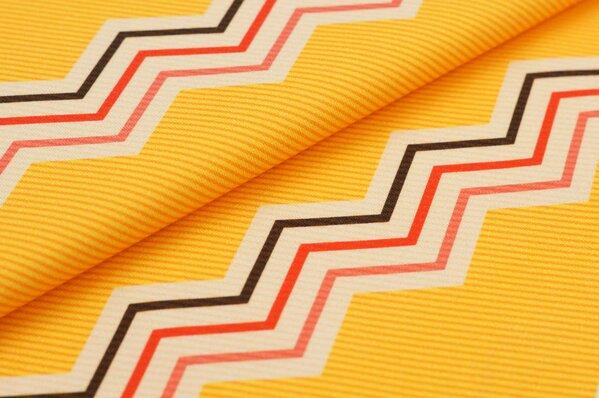 Baumwoll-Jersey Digitaldruck Zick Zack Linien Striche orange gelb koralle braun