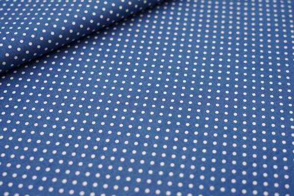 Baumwollstoff Baumwolle kleine Punkte taupe blau / weiß