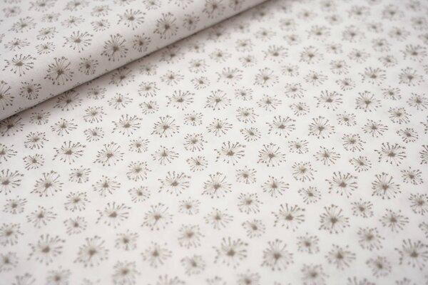 Baumwollstoff schlammbraune Pusteblumen auf weiß