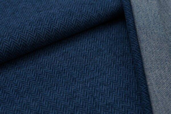 Kuschel Jacquard-Sweat Max Fischgrätenmuster taupe blau / navy blau