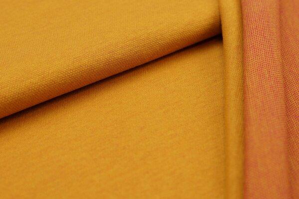 Jacquard-Sweat Ben senf Uni mit senf und amarant pink Rückseite