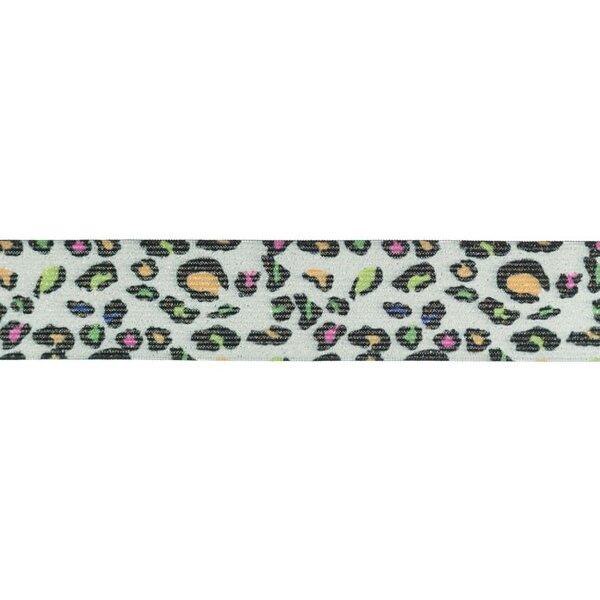 Gummiband mit Tierdruck und Glitzer Panther Fell grau / bunt neon 35 mm breit