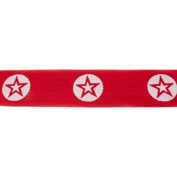 Breites Gummiband 40 mm Sterne im Kreis rot / weiß