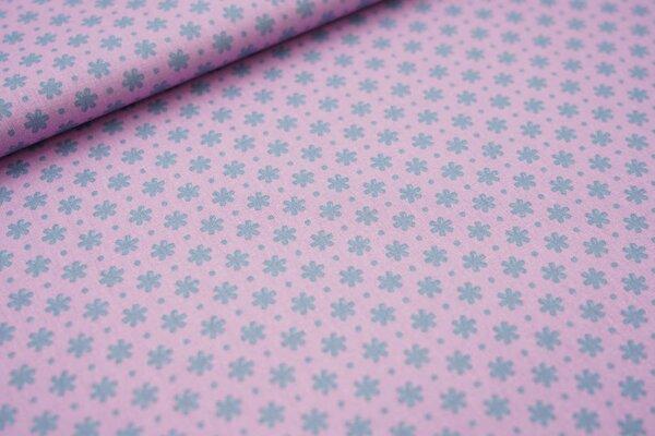 Baumwollstoff mit Blüten und Punkten hell lila / eisblau Blumen