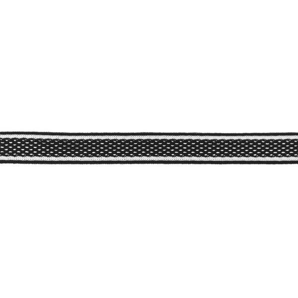 Netzband Zierband mit Streifen schwarz / weiß / schwarz