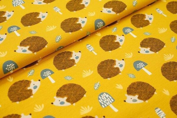 Baumwoll-Jersey Igel Pilze und Blätter senfgelb