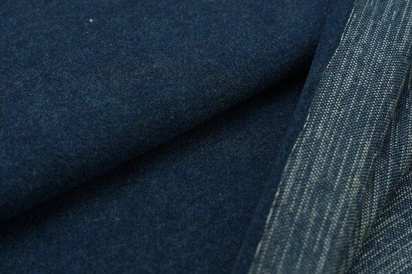 Kuschel Jacquard-Sweat Moritz Uni navy blau Melange mit off white