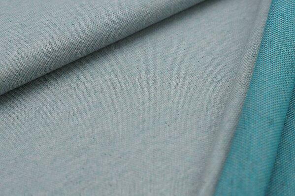 Jacquard-Sweat Ben hellgrau Uni mit dunkelgrauer und türkiser Rückseite
