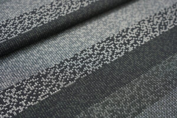 Baumwoll-Jersey Streifen in Strickoptik schwarz / anthrazit / grau / weiß