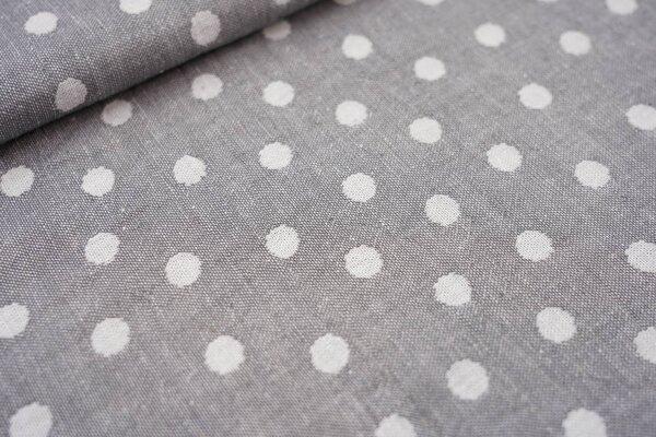 Baumwoll Jacquard doubleface Punkte grau / weiß
