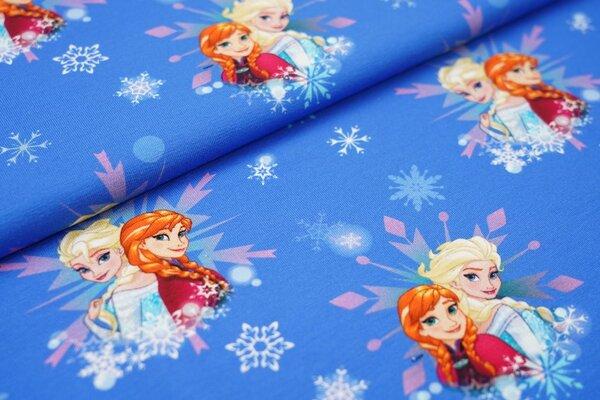 Digitaldruck Baumwoll-Jersey Eiskönigin Frozen Elsa Anna Schneeflocken auf blau