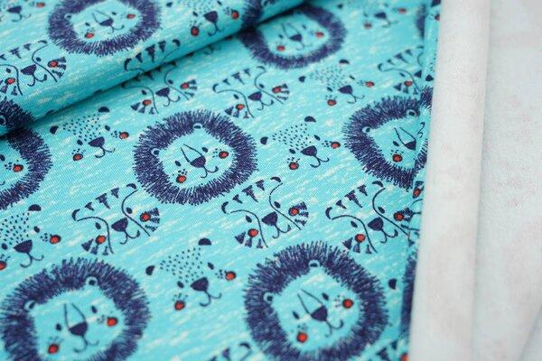 Kuscheliger Baumwoll-Sweat mit blauen Löwenköpfen auf türkis meliert