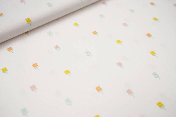Baumwolle kleine Blumen auf weiß