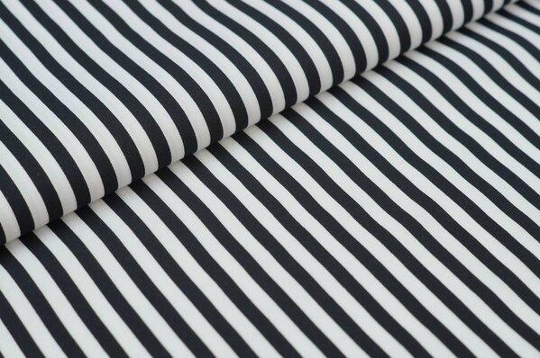 Baumwollstoff Baumwolle Streifen schwarz / weiß