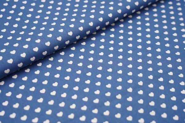Baumwollstoff Baumwolle Herzen jeansblau / weiß