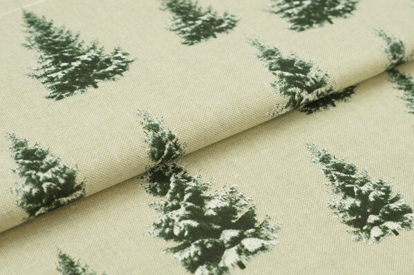 Dekostoff Leinenoptik schneebedeckte Tannenbäume natur grün / weiß Tannenbaum