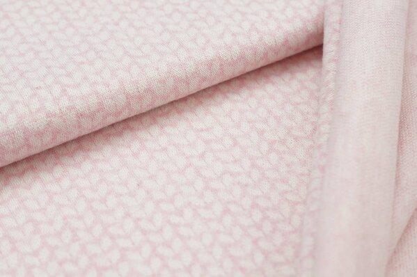 Jacquard-Sweat Mia off white kleine Blätter auf pastell rosa Melange