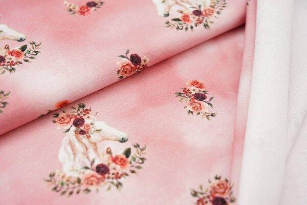 Baumwoll-Sweat Digitaldruck träumende Pferde mit Rosen auf rosa