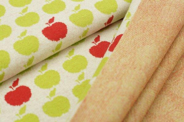 Jacquard-Sweat Ben limetten grüne und rote Äpfel Apfel auf off white