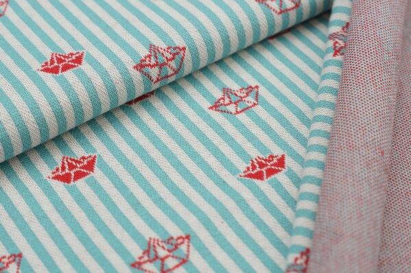 Jacquard-Sweat mit Papierschiffchen auf Streifen eisblau / off white / rot