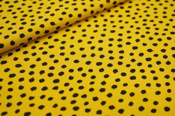Baumwoll-Jersey schwarze getupfte Punkte auf senfgelb
