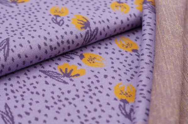Jacquard-Sweat Ben mit kleinen Blumen und Punkten hell lila / lila / senf