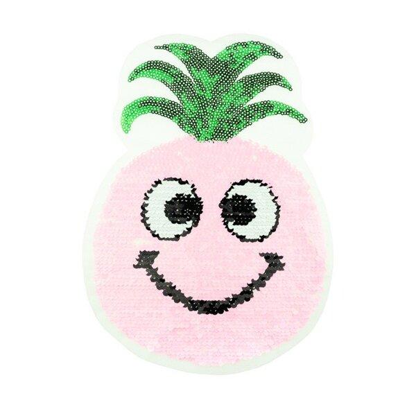 Applikation Ananas mit Gesicht rosa / weiß / grün Wendepailletten Aufnäher