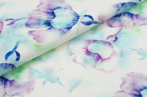 Baumwoll-Jersey mit Digitaldruck Aquarell Blumen lila blau grün auf off white
