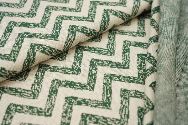 Jacquard-Jersey große Zick Zack Wellen grün auf off white
